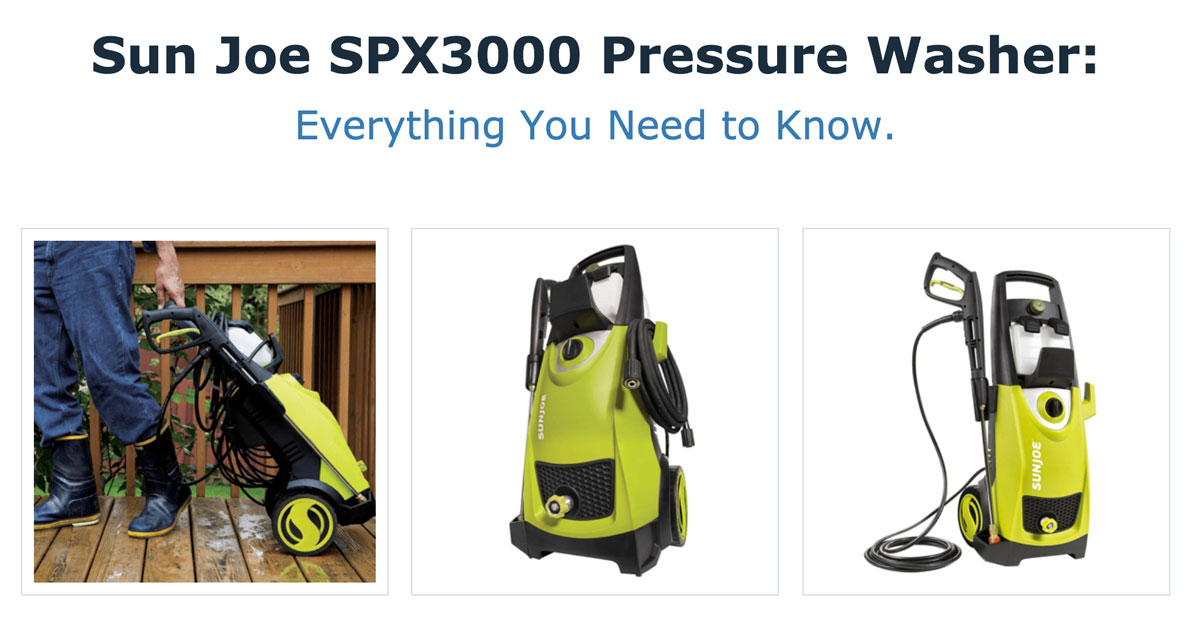 Sun Joe SPX3000 Pressure Washer (Infographic)